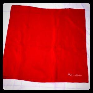 "Ann Klein red silk square 25"" scarf white border"